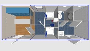 Душевая двойная с туалетами и раздевалкой 6х2,4
