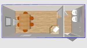 Столовая на 6 мест с умывальниками 6х2,4