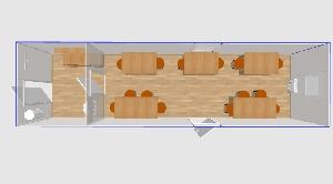 Столовая на 14 мест 9х2,4